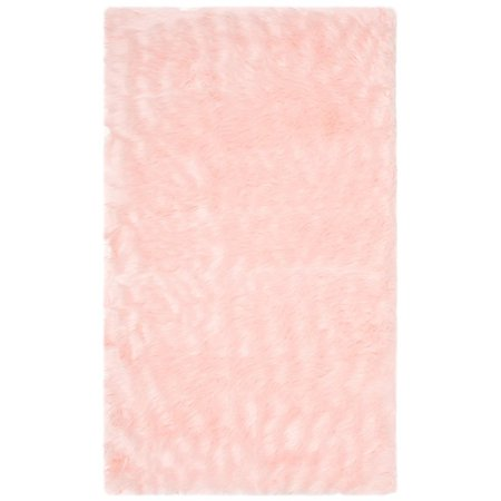 Safavieh Faux Sheep Skin 3' X 5' Power Loomed Acrylic Rug in Pink - image 3 of 3