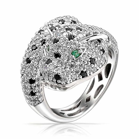 Green Eye Black White Cubic Zirconia CZ Fashion Leopard Panther Cat Statement Bypass Ring For Women Silver Plated Brass