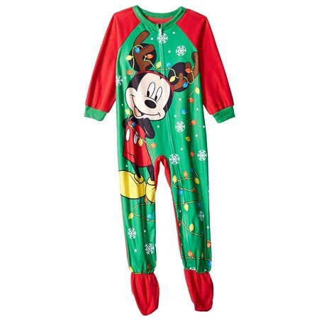 Mickey Mouse Pajamas Kids' Toddler Reindeer Mickey Holiday Fleece Footed Blanket Sleeper