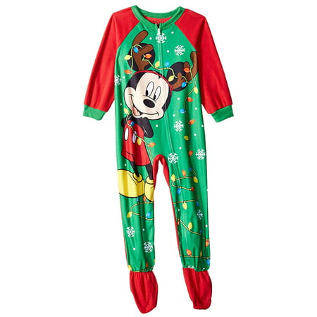 Mickey Mouse Pajamas Kids' Toddler Reindeer Mickey Holiday Fleece Footed Blanket Sleeper
