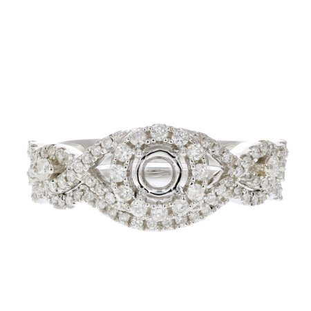 1/2 CT Diamond Semi Mount Bridal Set Prong Set in Sterling Silver Size 7 ()