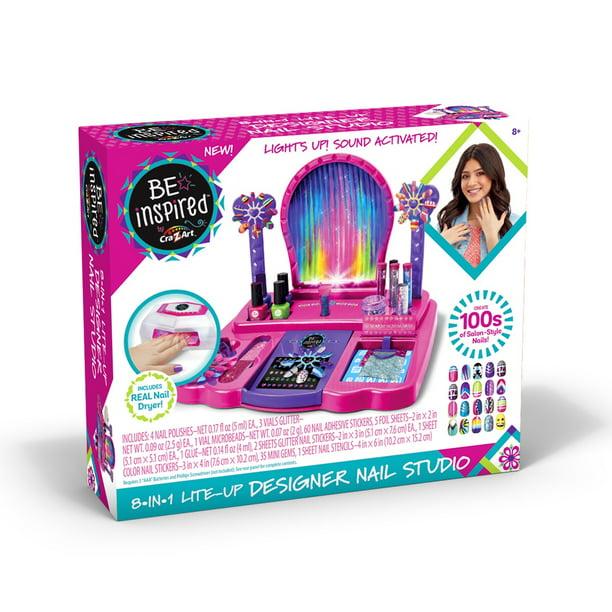 Cra Z Art Be Inspired 8 In 1 Lite Up Designer Nail Studio Walmart Com Walmart Com