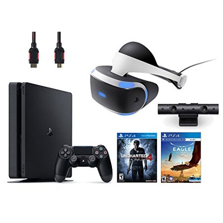 PlayStation VR Bundle 4 Items:VR Headset,Playstation Camera,PlayStation 4 Slim 500GB Console - Uncharted 4,VR Game Disc Eagle Flight