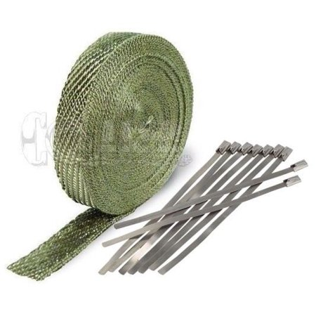 Titanium Stem Kit (Titanium Exhaust Wrap Kit; 1 inch x 50 ft Roll w/ 8 Stainless Steel Zip Ties)