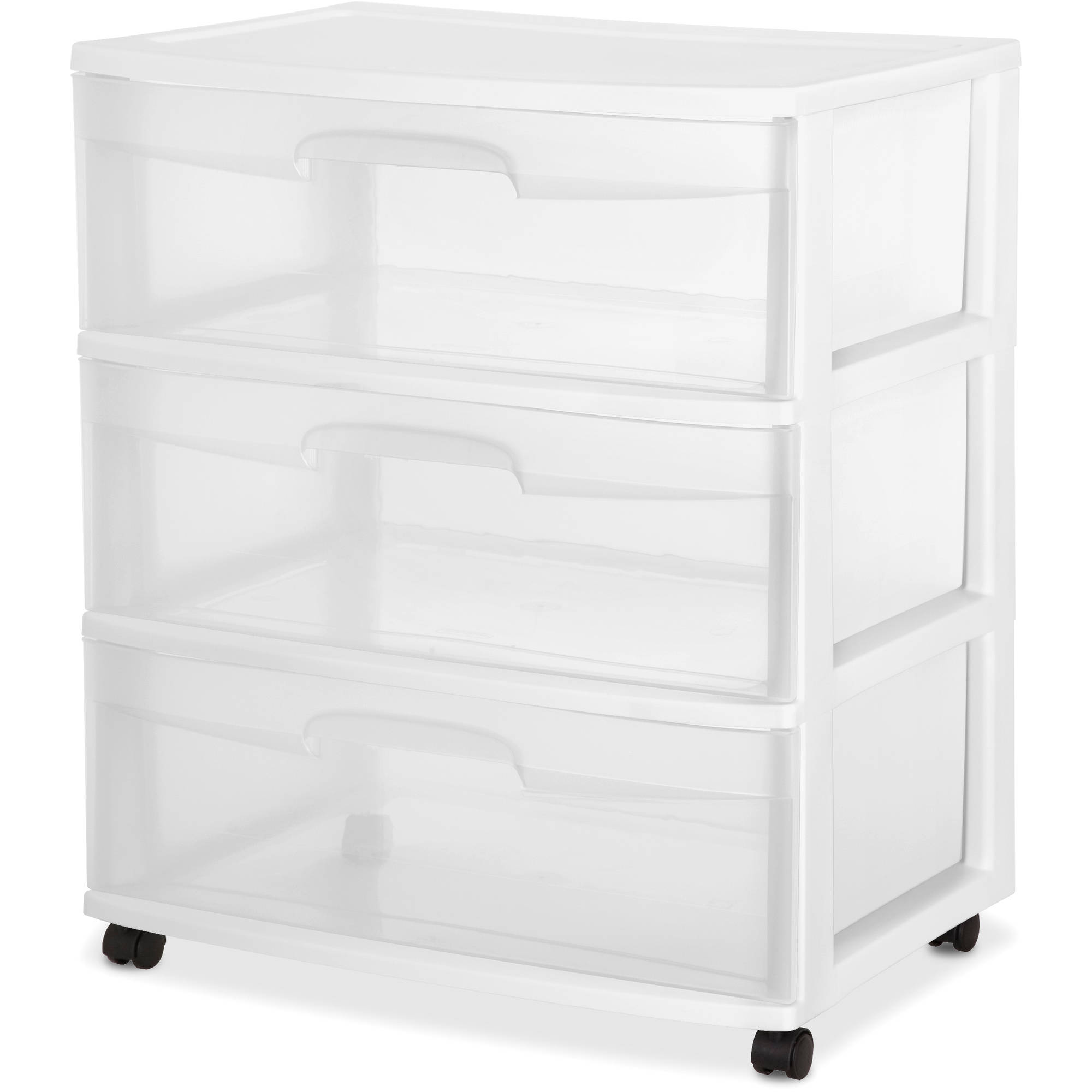 Sterilite 3 Drawer Wide Cart, White