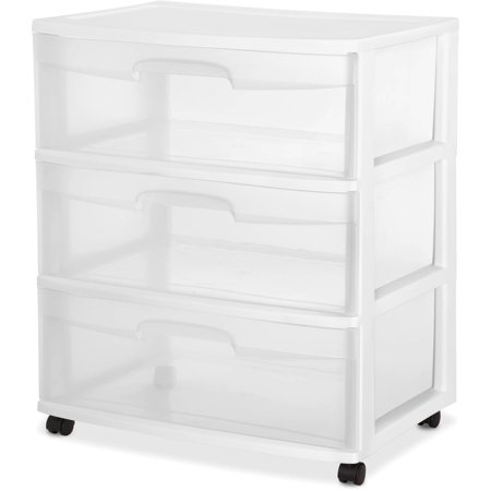 Sterilite 3 Drawer Wide Cart White