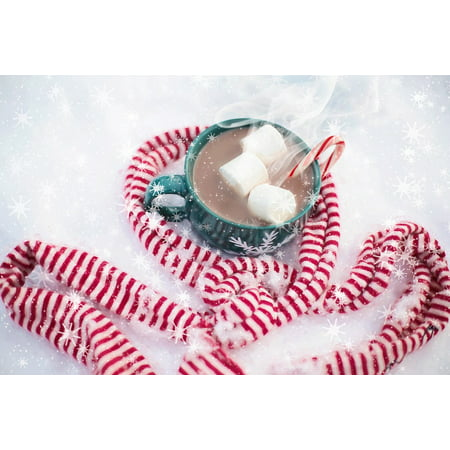 LAMINATED POSTER Christmas Hot Scarf Hot Chocolate Drink Snow Poster Print 24 x 36