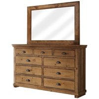 Progressive Willow 7 Drawer Dresser and Mirror in Distressed Pine