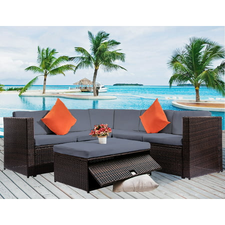 Clearance! 4 Piece Patio Furniture Set, All-Weather Outdoor Sectional Sofa Set, PE Rattan Conversation Set with Storage Table, Cushions, Wicker Furniture Chair Set for Patio Deck Garden Poolside, B736
