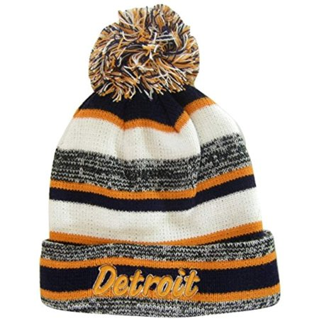 Detroit 4-Color Embroidered Adult Size Thick Winter Knit Pom Beanie Hat (Orange Script)