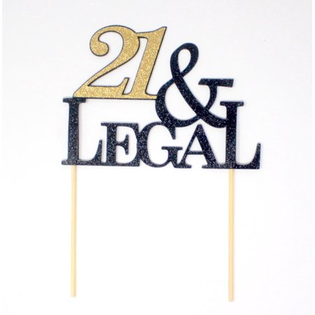 All About Details 21 & Legal Cake Topper (Black & Gold),1 PC, 21st Birthday, Glitter
