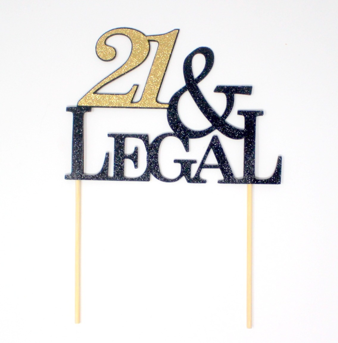 All About Details 21 & Legal Cake Topper (Black & Gold),1 PC, 21st Birthday, Glitter Topper
