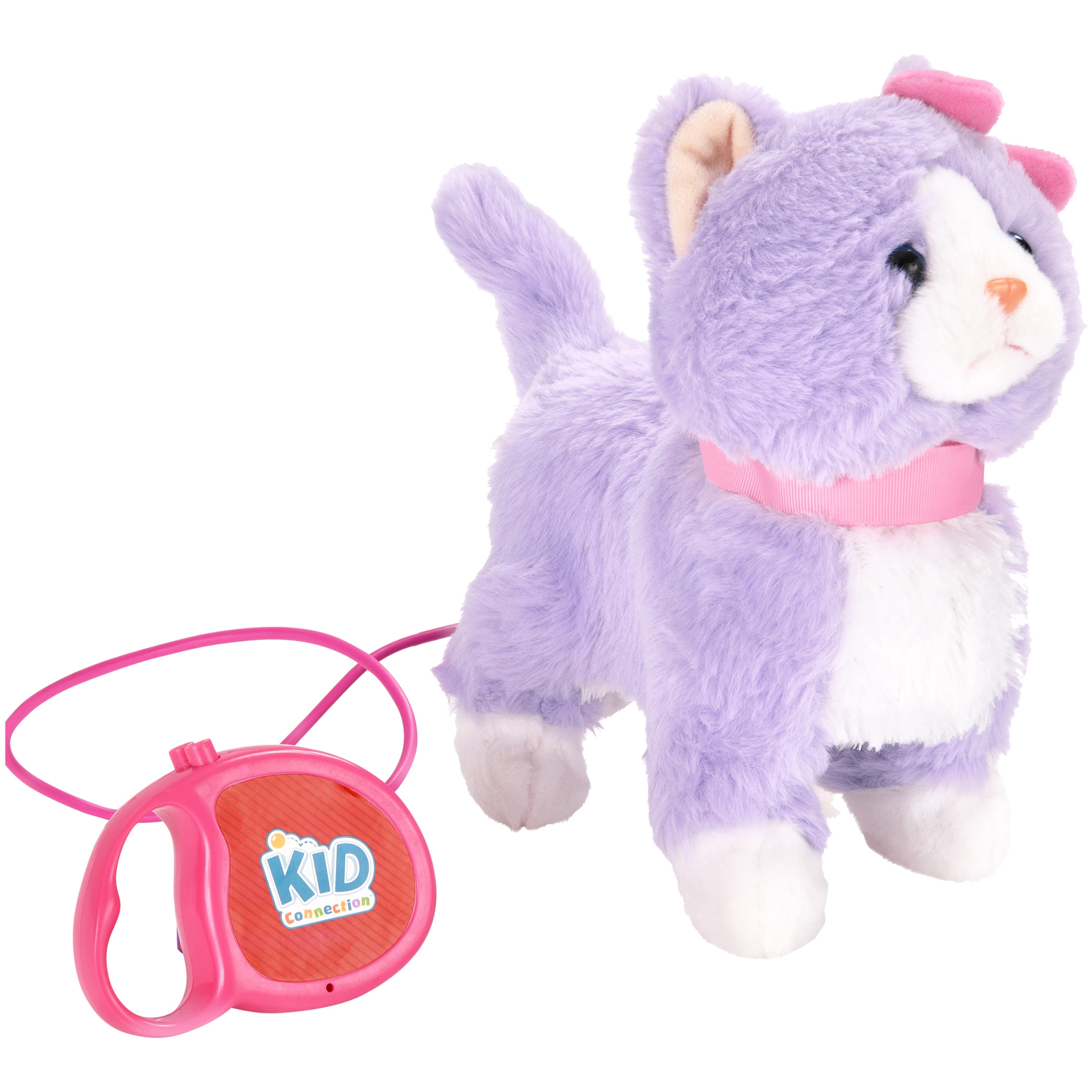 "Kid Connection 9"" Plush Cat Walking Pet, Purple & White with Pink Collar"