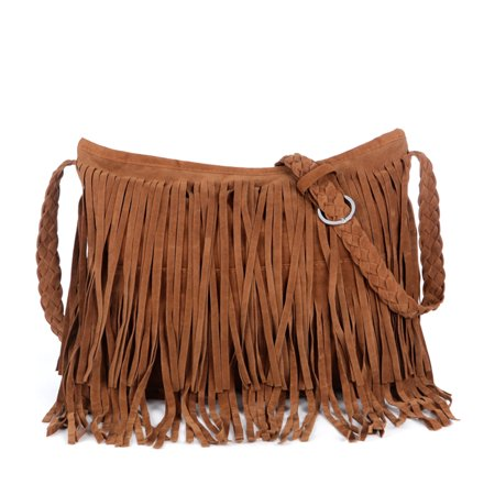 Vbiger Tassels Shoulder Bag Fringed PU Leather Handbag Simple Cross Body Bags for Women Braided Shoulder Strap ()