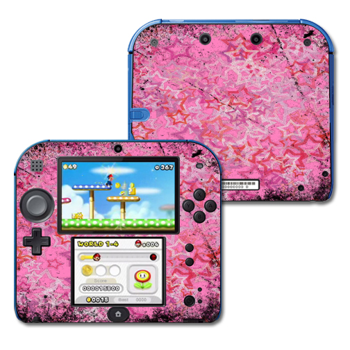 Mightyskins Protective Vinyl Skin Decal Cover for Nintendo 2DS wrap sticker skins Pink Star