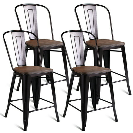 Costway Copper Set of 4 Metal Wood Counter Stool Kitchen Dining Bar Chairs (Oak Rustic Bar Stools)