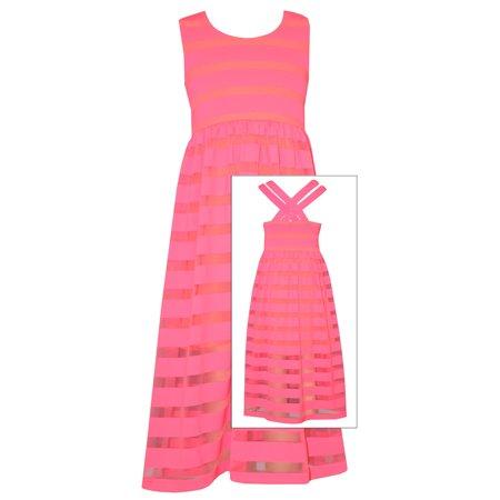 Bonnie Jean Tween Girls Summer Pink Stripe to Sheer Maxi - Dresses For Tweens