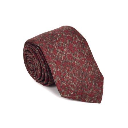 Isaia Wool - Isaia Napoli Mens Maroon Red Marble Splash Wool 7 Fold Tie