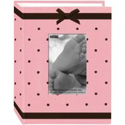 "Pioneer Baby Dot Fabric Frame Photo Album 4""X6"" -Pink/Brown"