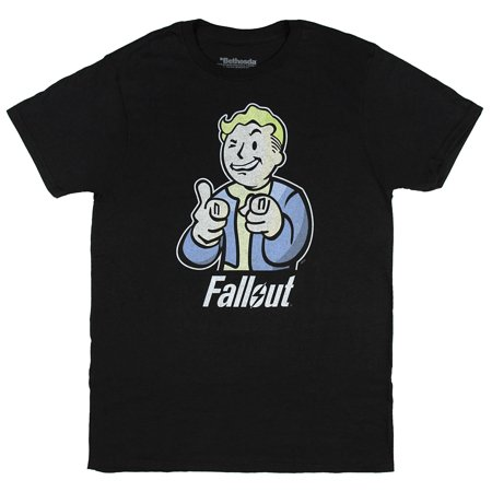 Fallout Vault Boy Mens Black T-shirt - Fallout Vault Suit For Sale