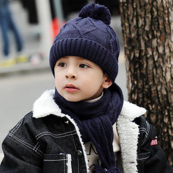 09ffade4230 WONDERBEAN - Kids Winter Warm Hat Scarf Set Children Knit Beanie Cap ...