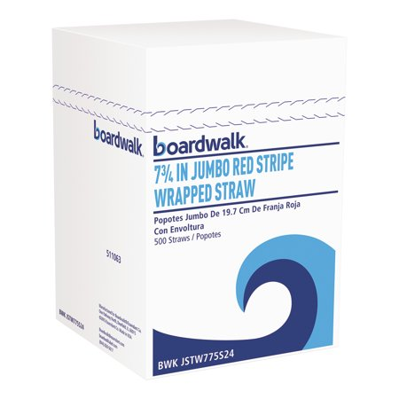 Boardwalk Wrapped Jumbo Straws, 7 3/4