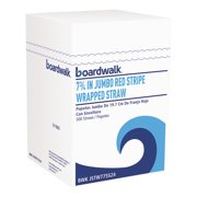 "Boardwalk Wrapped Jumbo Straws, 7 3/4"", Plastic, Red w/White Stripe, 400/Pack, 25 Packs/CT -BWKJSTW775S24"