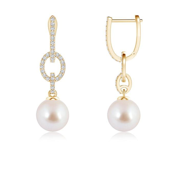 Angara Akoya Cultured Pearl and Diamond Hinged Clip Earrings DvTBCni