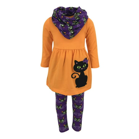 Unique Baby Girls Black Cat Halloween Outfit with Infinity Scarf (3T/S, - Halloween Outfit Ideas 2017