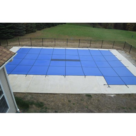 Water Warden Solid Safety Pool Cover for In Ground Pools, with Center Drain Panel, Right Side Step