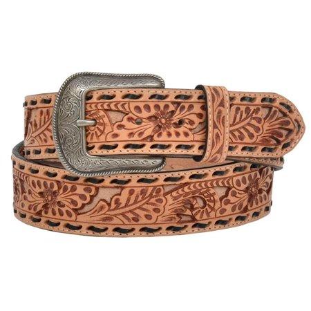 3D Belt D7340-40 1.50 in. Floral Embossed Full-Grain Leather Belt, Natural - Size