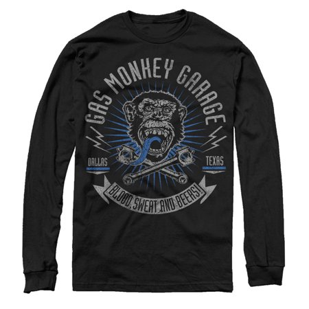 Gas Monkey Men's Logo Blood, Sweat, and Beers Long Sleeve T-Shirt - Monkey Suits For Sale