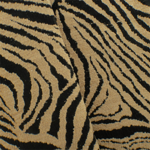 Beige/Black Zebra Chenille Jacquard Upholstery Fabric, Fabric By the Yard