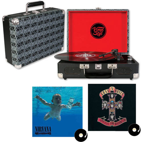 Skull Design Vinyl Styl Groove Portable Turntable with your choice Vinyl