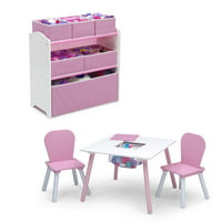 Delta Children 4-Piece Toddler Playroom Set, Pink/White
