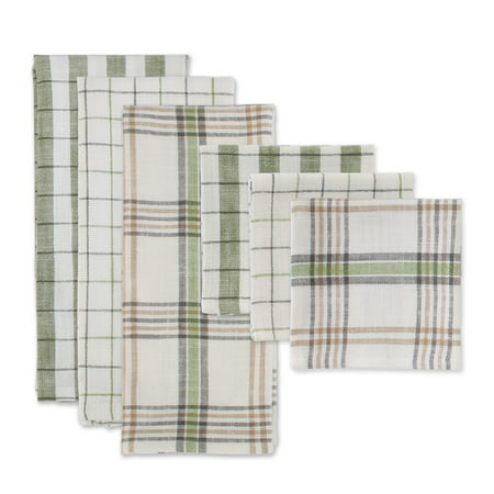 DII Fresh Herbs Kitchen Textiles, Dishtowels & Dishcloths, Green House, 6 Pieces Green Curry Dishes