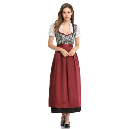 Women's German Dirndl Dress 3 Pieces Traditional Bavarian Oktoberfest Costumes for Halloween Carnival