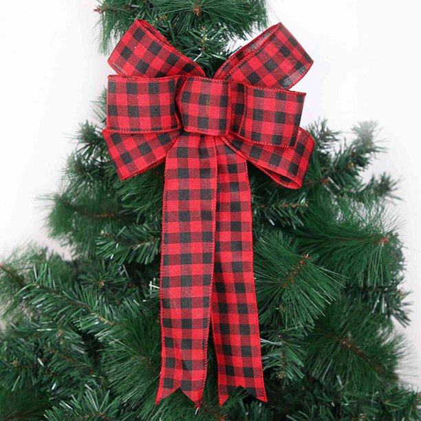 Akoada 1 Pcs Red Black And White Buffalo Plaid Big Bows Christmas Tree Bows Christmas Wreath Bow For Christmas Outdoor Decorations Walmart Com Walmart Com
