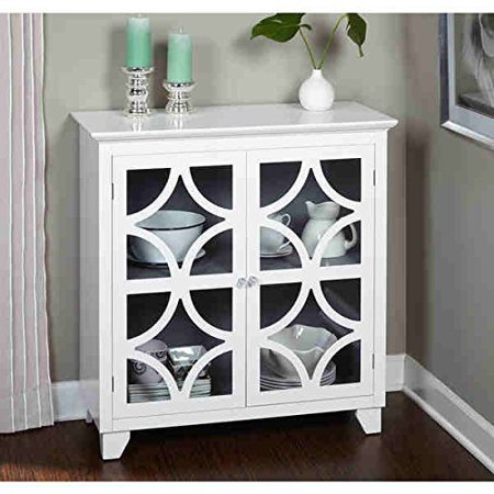 36 High Cabinet - Simple Living Sydney Vintage-inspired White Satin Finished Mdf, Acrylic, Tempered Glass and Metal Crafted Cabinet (38 Inches High X 36 Inches Wide X 16 Inches Deep)