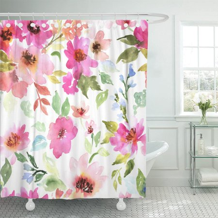 PKNMT Green Watercolor Floral Pattern Purple and Pink Bouquet Polyester Shower Curtain 60x72 inches ()