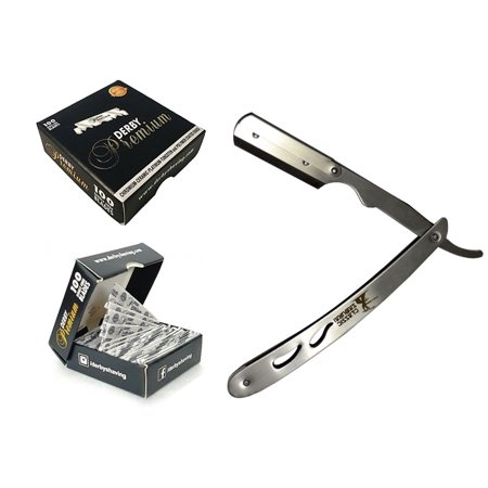 Classic Samurai CS-102 Stainless Steel Professional Barber Straight Edge Razor with 100 Derby Premium Razor - Smooth Combo Steel Blade