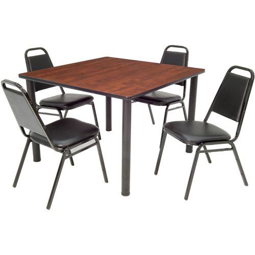 """Regency 5-Piece 42"""" Square Table with Black Post Legs with 4 Stackable Chairs"""