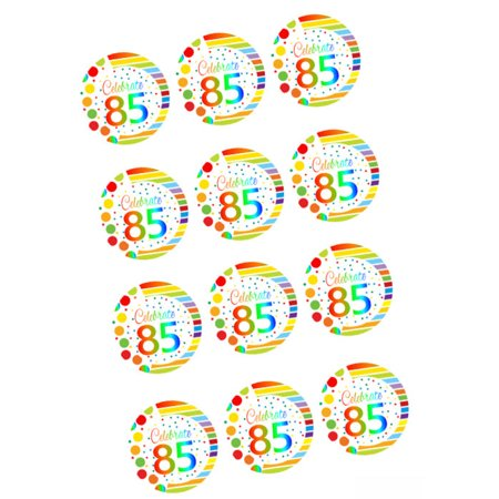 CakeSupplyShop ItemRE3 086 Happy 85th Birthday 3inch Rainbow Edible Cupcake Cookie Frosting Image Toppers 12ct