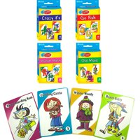 4 Classic Childrens Card Games Crazy 8s Go Fish Monster Match Old Maid Kids Gift