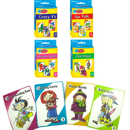 4 Classic Childrens Card Games Crazy 8s Go Fish Monster Match Old Maid Kids - Christmas Gift Games
