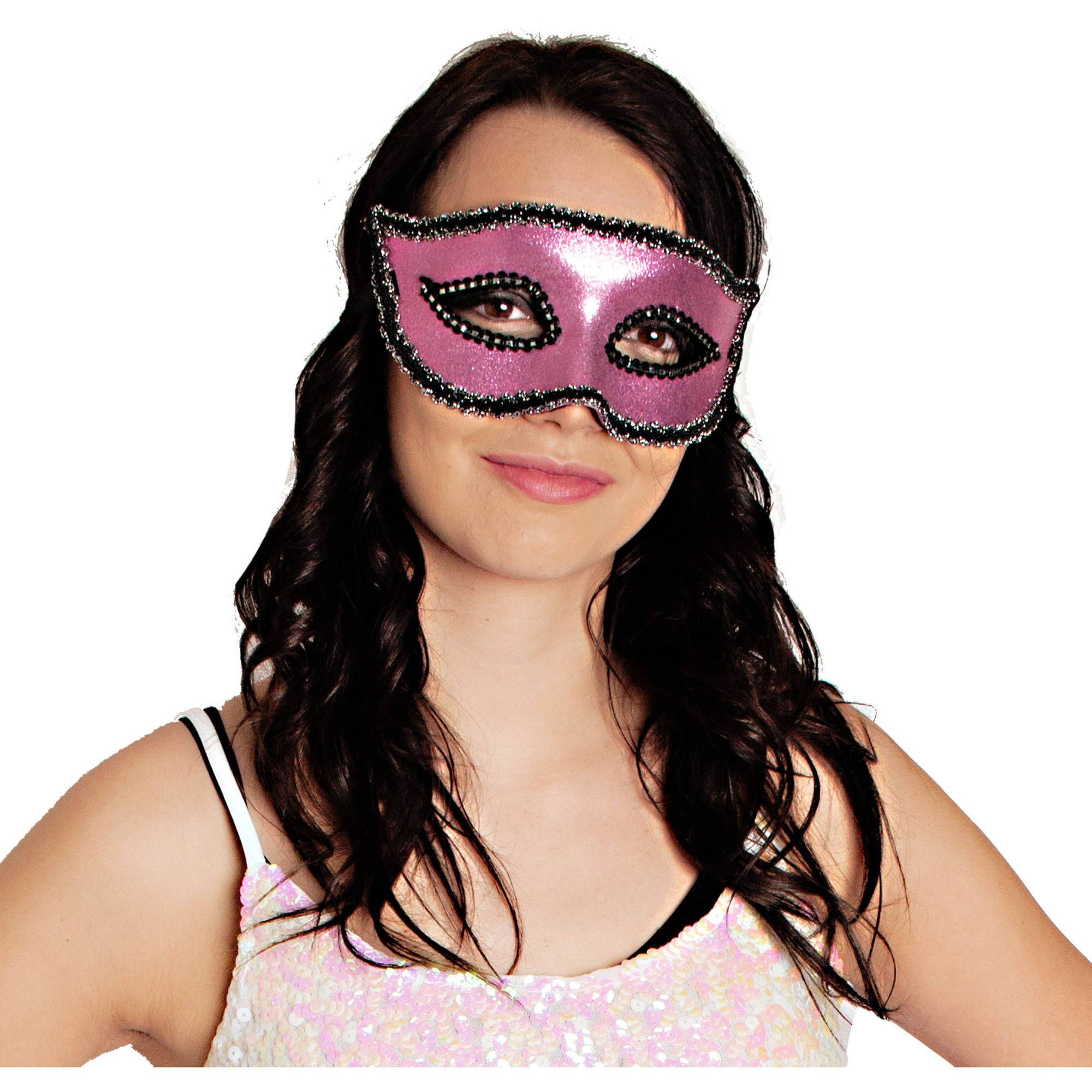 Glitter Hot Pink Masquerade Mask Adult Halloween Costume Accessory