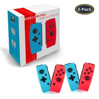 2Pair/1Pair Wireless Controller for Nintendo Switch, Bluetooth Gaming Gamepad Joypad Left/Right Controllers Compatible with Nintendo Switch Joy-Con Controller, Blue & Red