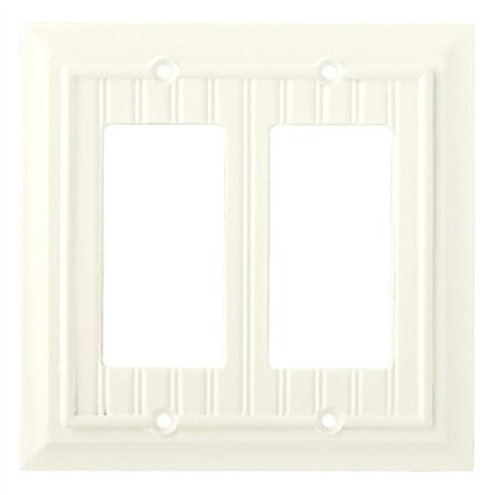 Switched Double Wall Light - Beadboard Double Decorator Wall Plate, Wall Lighting, Light Switches and Socket Plates, White