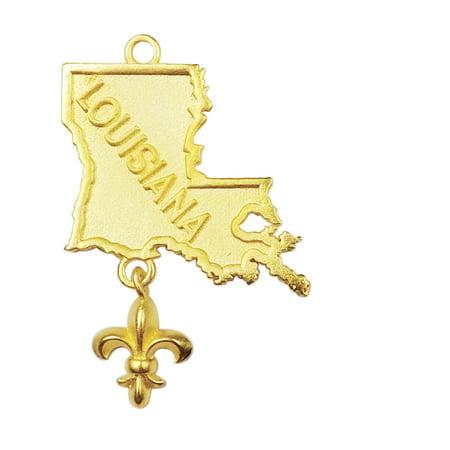 CG-461-24X15MM 18K Gold Overlay Louisiana State Charm