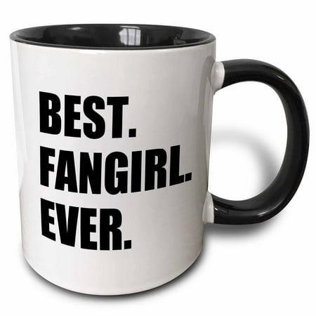 3dRose Best Fangirl Ever - funny gift for fan girls - humorous superfan humor - Two Tone Black Mug, (Best Tones For Girls)